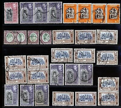 CEYLON KGVI EARLY ISSUES HIGH VALUES TO Rs5 FINE USED LOT.    A165