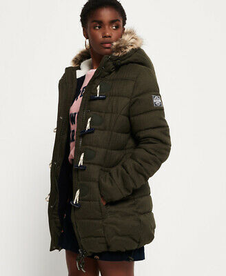 New Womens Superdry Tall Marl Toggle Puffle Jacket Army Green