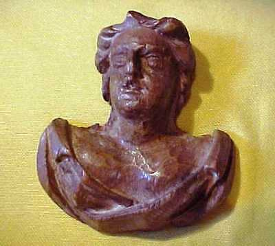 Interesting Antique Small Hand Carved Wood Classic Head Shoulder - Roman Looking