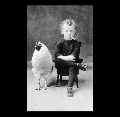 Vintage Freak Child Smoking & Giant Chicken PHOTO Creepy Crazy Cigarette Boy