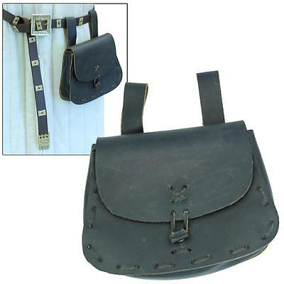 Medieval Renaissance Blackened Genuine Leather Peasant Knights Festival Pouch