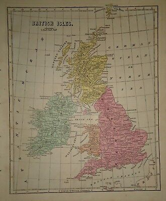 Antique 1856 Hand Colored BRITISH ISLES MAP Old Authentic Vintage Atlas Map
