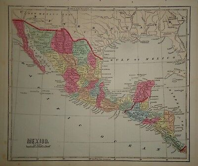 Antique 1856 Hand Colored MEXICO - TEXAS MAP Old Authentic Vintage Atlas Map