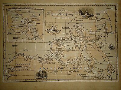 Antique 1856 Hand Colored NORTH-WEST PASSAGE CHART ~ Old Authentic Vintage Map