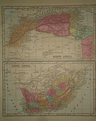 Antique 1856 Hand Colored NORTH & SOUTH AFRICA MAP Old Authentic Vintage Map
