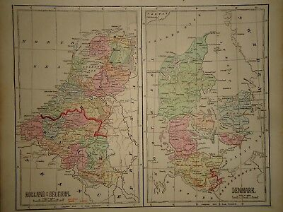 Antique 1856 Hand Colored HOLLAND BELGIUM DENMARK  MAP Old Authentic Vintage