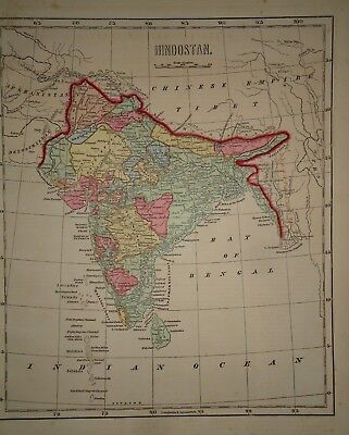 Antique 1856 Hand Colored HINDOSTAN - INDIA  MAP Old Authentic Vintage