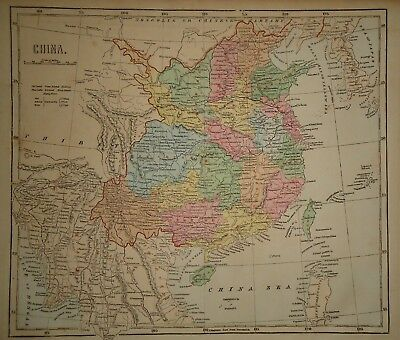Antique 1856 Hand Colored CHINA MAP Old Authentic Vintage Atlas Map