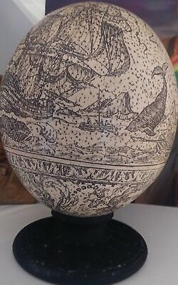 Beautiful Vintage Scrimshawed Ostrich Egg on Stand Whaling Scene Excellent