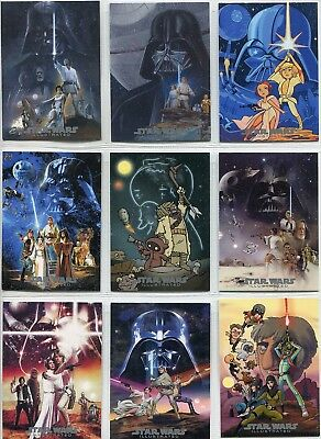 Star Wars Illustrated ANH Complete 9 Card Chase Set Movie Posters