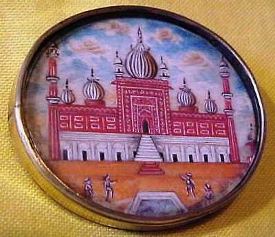 Rare Antique Hand Painted Temple Or Palace Under Glass Brooch - Maybe On Glass ?