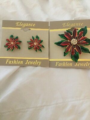 Beautiful Enamel And Stone Poinsettia Pin And Earring Set. Clip-ons