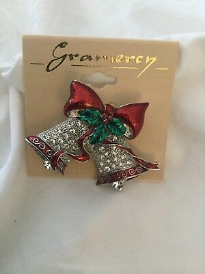 Beautiful Enamel And Stone Christmas Bells Pin. Brand New.
