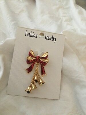 Enamel Bow And Bells Christmas Pin. Brand New.