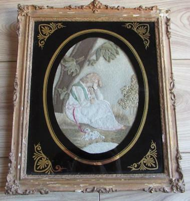Fine Georgian Silk Embroidered Felt Picture in Verre Egomise Frame