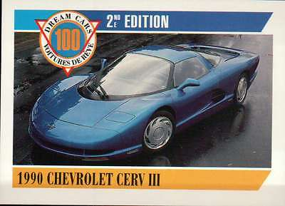1990 Chevrolet Cerv III, Dream Cars Trading Card, Automobile - Not Postcard