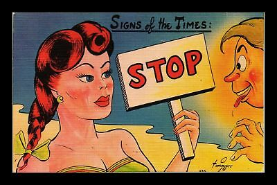 Dr Jim Stamps Us Comic Signs Of The Times Stop Linen Topical Postcard