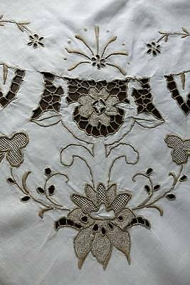 Vintage large Irish linen tablecloth with hand embroidery Madeira work.