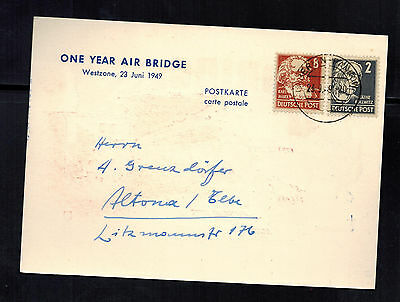 1949 Berlin Germany one Year Air Bridge Airlift Postcard Cover Soviet Zone 6