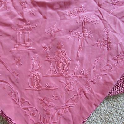 Finest Antique Chinese Hand Embroidered Silk Piano Shawl - Very Detailed