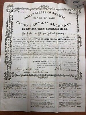 Dayton & Michigan Railroad Co. Interest Bearer Bond $210 Ohio 1861
