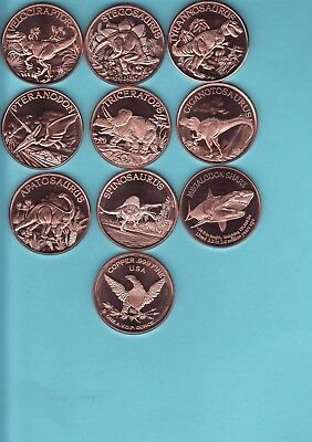 Complete DINOSAUR  Series Set 9 coins   1 oz. Copper Rounds  MEGALODON SHARK #9