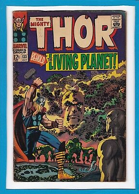 """Mighty Thor #133_October 1966_Very Good_""""behold...the Living Planet""""_Silver Age!"""