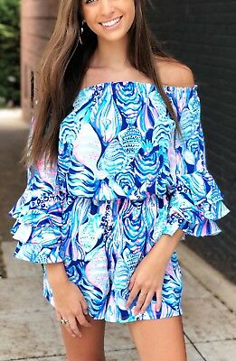 81d021dee17b Nwt Lilly Pulitzer Calla M Off Shoulder Romper Twilight Blue Scale Up
