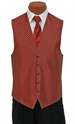Large New Mens Copper Rapture Fullback Wedding Prom Formal Tuxedo Vest and Tie