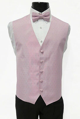 XL Mens Cameo Pink Perry Ellis Pattern Tuxedo Fullback Vest & Bow Tie Wedding