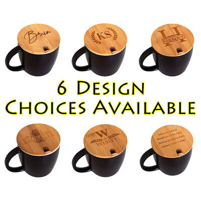 14 oz. Personalized Ceramic Porcelain Coffee Cup Mug with Engraved Bamboo Lid s