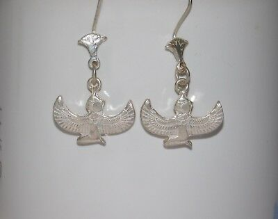Egyptian Solid Sterling Silver Stamped Handcraft Isis Wings French Wire Earrings
