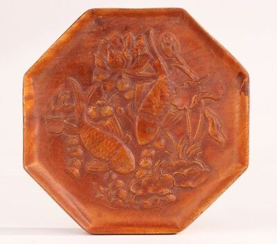 Precious China Boxwood Board Painting Statue Hand-Carved Fish Mascot Collec Gift