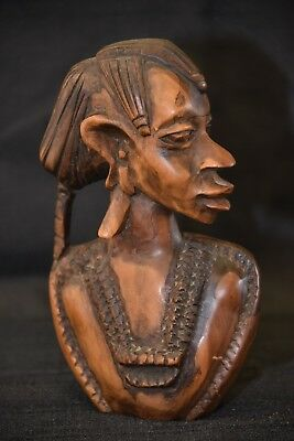 Vintage 50s-60s African Woman Head Sculpture Bust Hand Carved Ebony Wood Statue