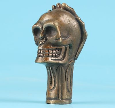 Walking Stick Bronze Hand-Carved Skull Claw Statue Head Handmade Statue