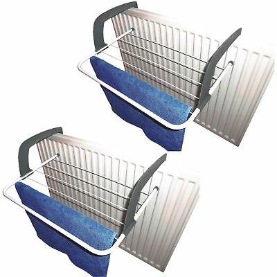 2 x 5 Rail Radiator Towel Clothes Folding Caravan Airer Dryer Drying Rack Holder