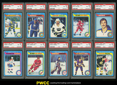 Lot(101) 1979 O-Pee-Chee Hockey Commons w/ Brodeur Smith Plante, PSA 8 (PWCC)