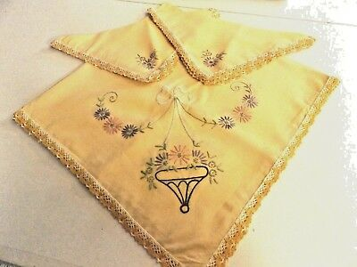 "VINTAGE 32"" x 32"" LUNCHEON CLOTH  4 NAPKINS~ HAND EMBROIDERED ~ TOTALLY HANDMADE"