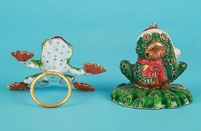 2 Rare Chinese Cloisonne Hand-Carved Frog Animal Statue Old Collection