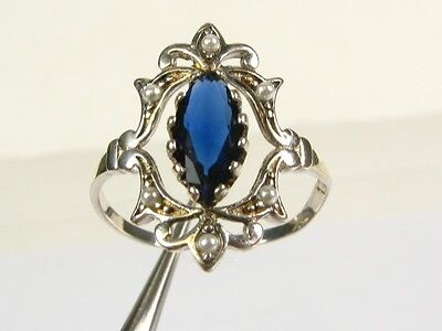 .50ct Blue Stone & Seed Pearl Victorian Deco Sterling Filigree Ring 102a