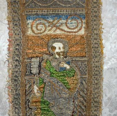EXQUISITE RARE FRAGMENT 17th CENTURY ORPHREY EMBROIDERY, FRENCH OR ITALIAN 2.