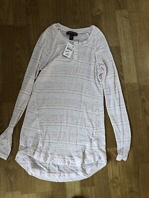 A Pea in the Pod Long Sleeve Pink and White Stripe Maternity Top XS New
