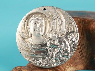 Rare Silver Copper Unique Handmade Carving Buddha Pendant Old Collection