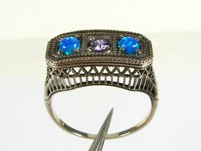 .20ct Natural Amethyst and Opal Victorian Deco Sterling Filigree Ring sz8 114a