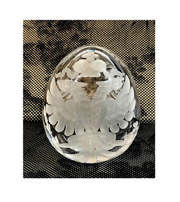 Collectible Russian Clear Crystal Egg Double Headed Eagle with Magnifying Glass
