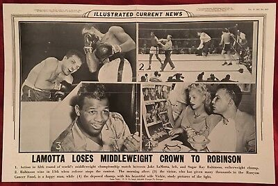 Rare Illustrated Current News Poster Sugar Ray Robinson Beats Jake Lamotta 1951!