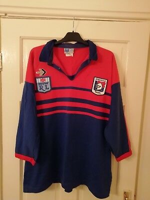 Rare 1993 Newcastle Knights long sleeve rugby shirt size XL men's vgc.