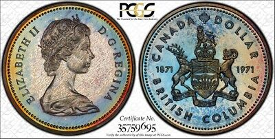 1971 Canada British Columbia Silver Dollar - PCGS SP67 - WOW TONING!