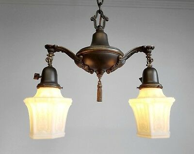 Rewired Antique Victorian Pan Fixture Ceiling Light Hanging Lamp
