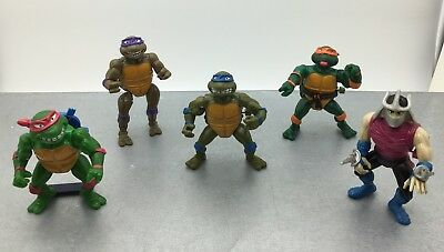 Lot 5 Figurines Tortues Ninja TMNT Vintage  Wacky Action - Playmates Toys 88-89